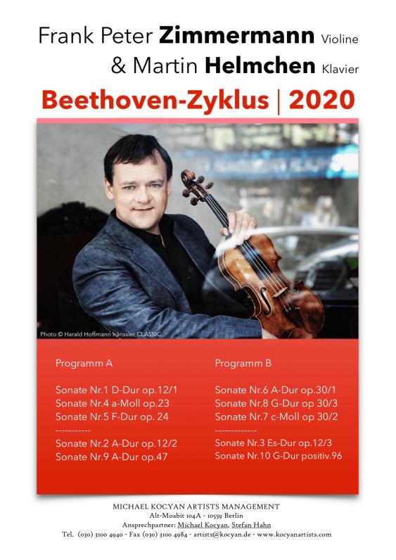 Frank Peter Zimmermann | 2020 Beethoven-Zyklus mit Martin Helmchen